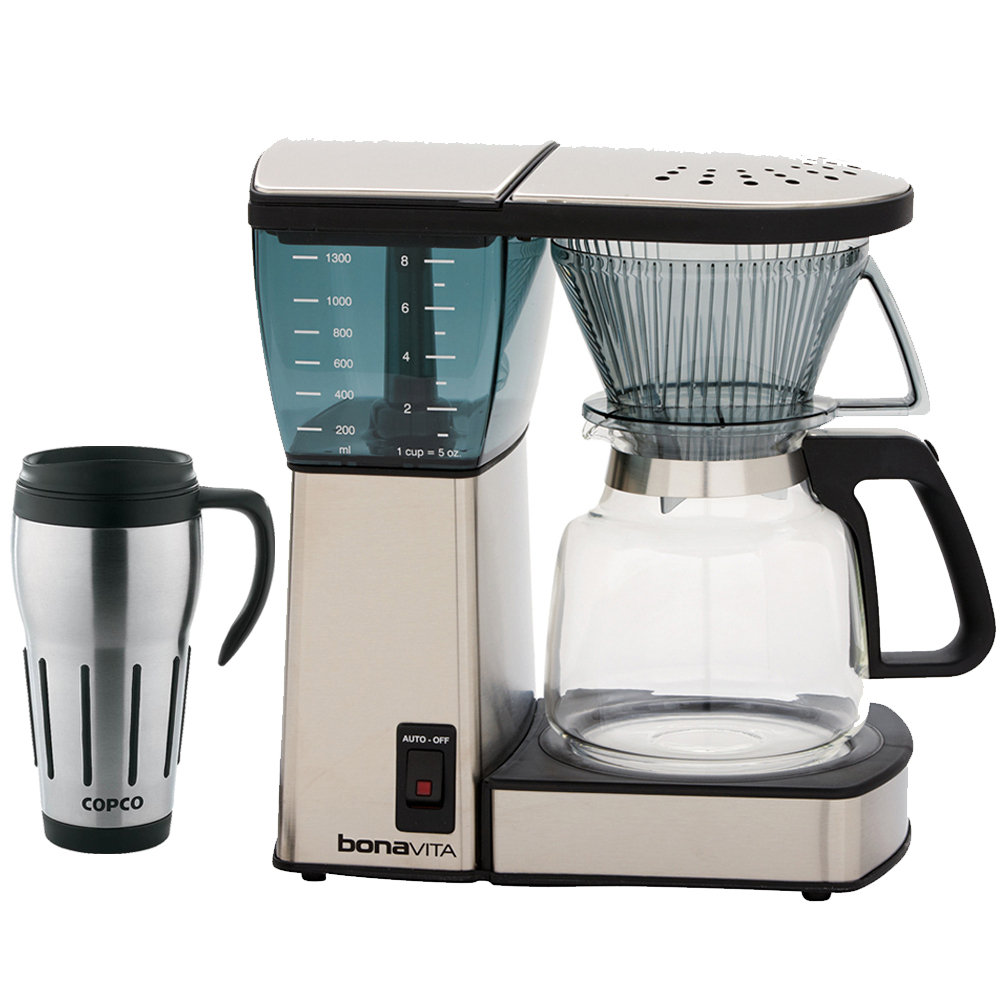 Bonavita 8-Cup Coffee Brewer (BV1800) with Glass Carafe with Copco 24-Ounce Big Joe Thermal Travel Mug