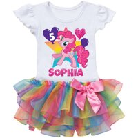 Personalized My Little Pony Pinkie Pie Birthday Rainbow Tutu Tee - 2T, 3T, 4T, 5/6T