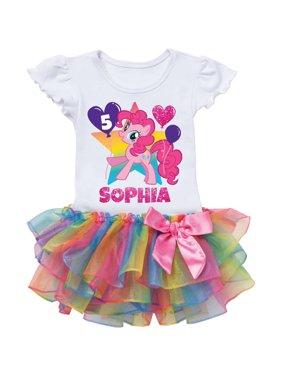 Personalized My Little Pony Pinkie Pie Birthday Rainbow Tutu Tee - 2T, 3T, 4T, 5/6T
