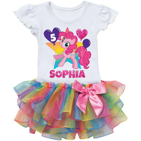 Personalized My Little Pony Pinkie Pie Birthday Rainbow Tutu Tee - 2T, 3T, 4T, 5/6T - Pinkie Pie Clothing