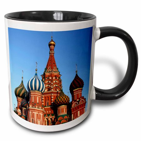 3dRose Russia, Moscow. St Basils Cathedral in Red Square - EU26 KWI0023 - Kymri Wilt - Two Tone Black Mug, 15-ounce