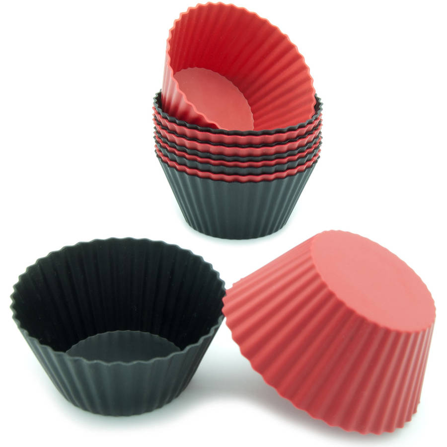 Freshware 12-Pack Standard Round Reusable Silicone Baking Cup, Black and Red, CB-300RB