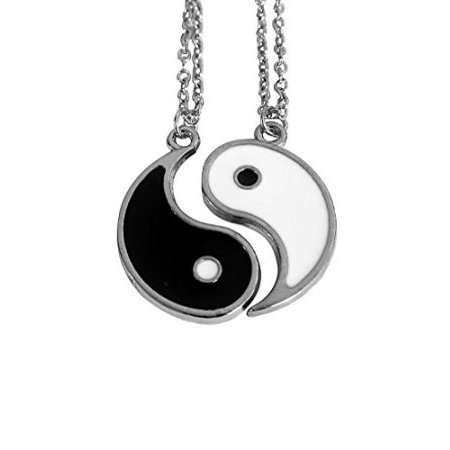 Silvertone Yin Yang Yin-Yang Peace Love Happiness Best Friends Forever BFF Pendant Necklace Gift