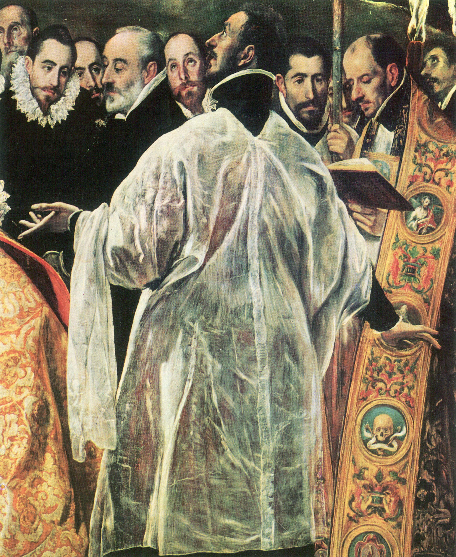Canvas Print Greco, El - The Burial of Count Orgaz, detail ...