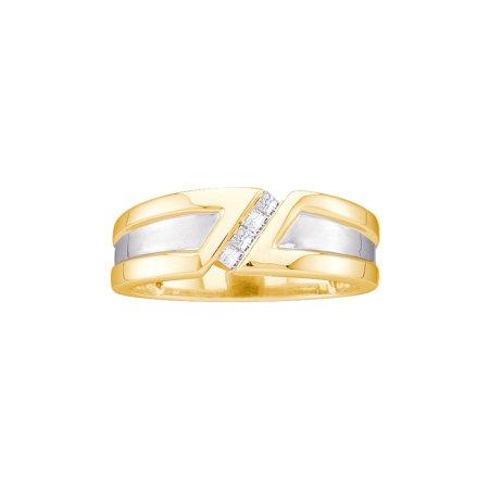 14k Mens Diamond Rings - 14kt Yellow Gold Mens Princess Natural Diamond Band Wedding Anniversary Ring (.14 cttw.) size- 8.5