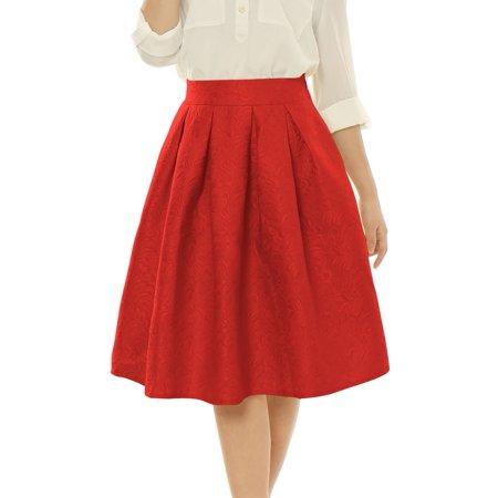 (Women High Waist Floral Jacquard Pleated Full Skirt)