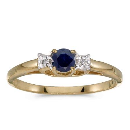 Designer Yellow Sapphire - 10k Yellow Gold Round Sapphire And Diamond Ring