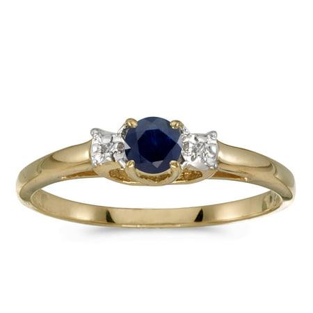 10k Yellow Gold Round Sapphire And Diamond Ring 10k Yellow Gold Sapphire Ring