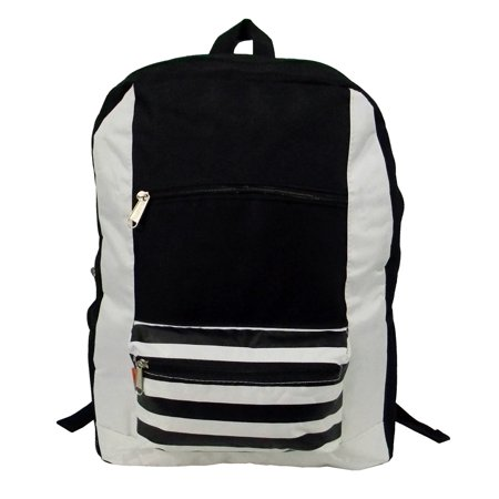 Case Lot 40pcs Wholesale Classic Basic Backpack 18 inch Stripe Printed Basic Bookbag Bulk Schoolbag Black Gray Classic Backpack