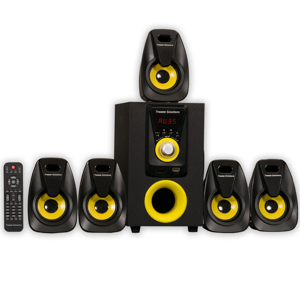 Theater Solutions TS522 Home Theater 5.1 Speaker System 500 Watts with Powered Sub and USB Drive