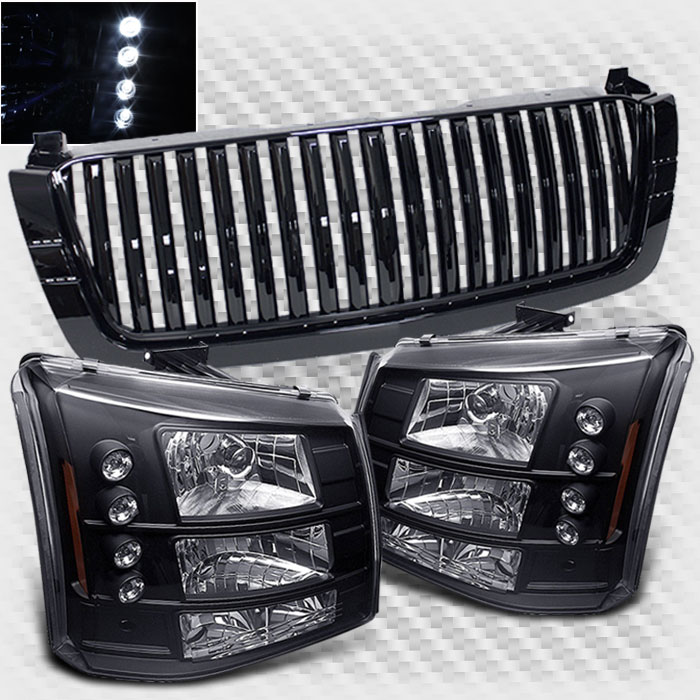 For 2003-2006 Chevy Silverado 2in1 Sport Grill + LED Headlights Combo Grille Head Lights 2004 2005
