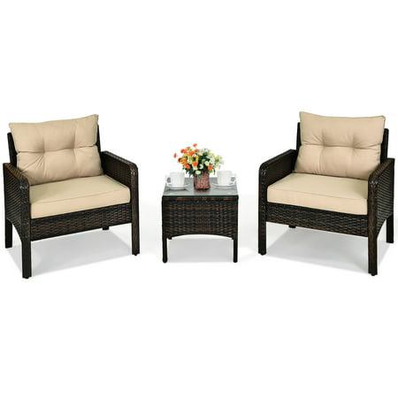 Costway 3PCS Outdoor Rattan Conversation Set Patio Garden Furniture Cushioned Sofa Chair Rattan Patio Furniture