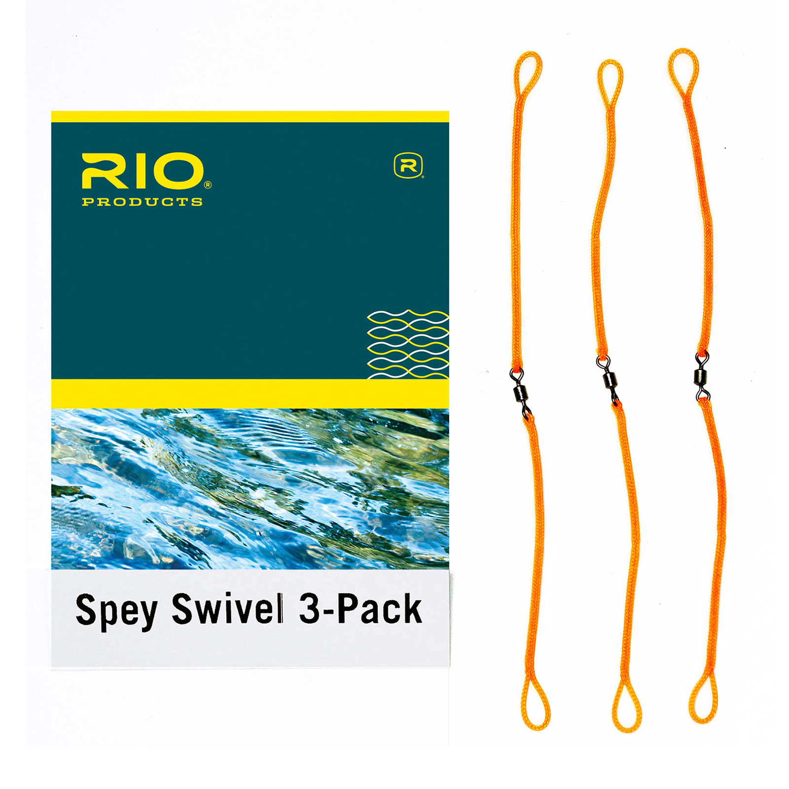 RIO - Anti Twist Tangle Spey Casting Swivel 3-Pack Fly Fishing Line Orange