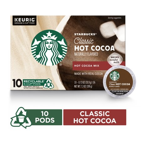 Starbucks Classic Hot Cocoa Single Serve Pods for Keurig Brewers, Box of 10 K-Cup