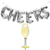 Cheers Silver Foil Letters with Champagne Glass Balloon for All Party Decoration