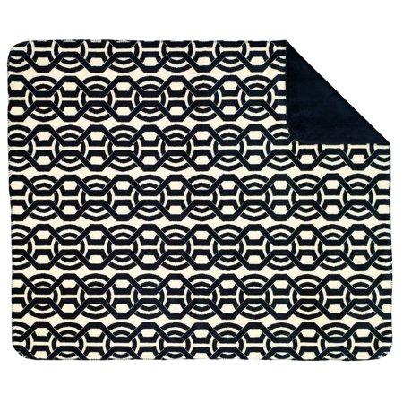 Denali Lapis Blue and Off-white Interlock Throw Blanket