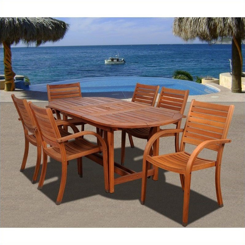Arizona 7-Piece Eucalyptus Extendable Oval Patio Dining Set, Brown