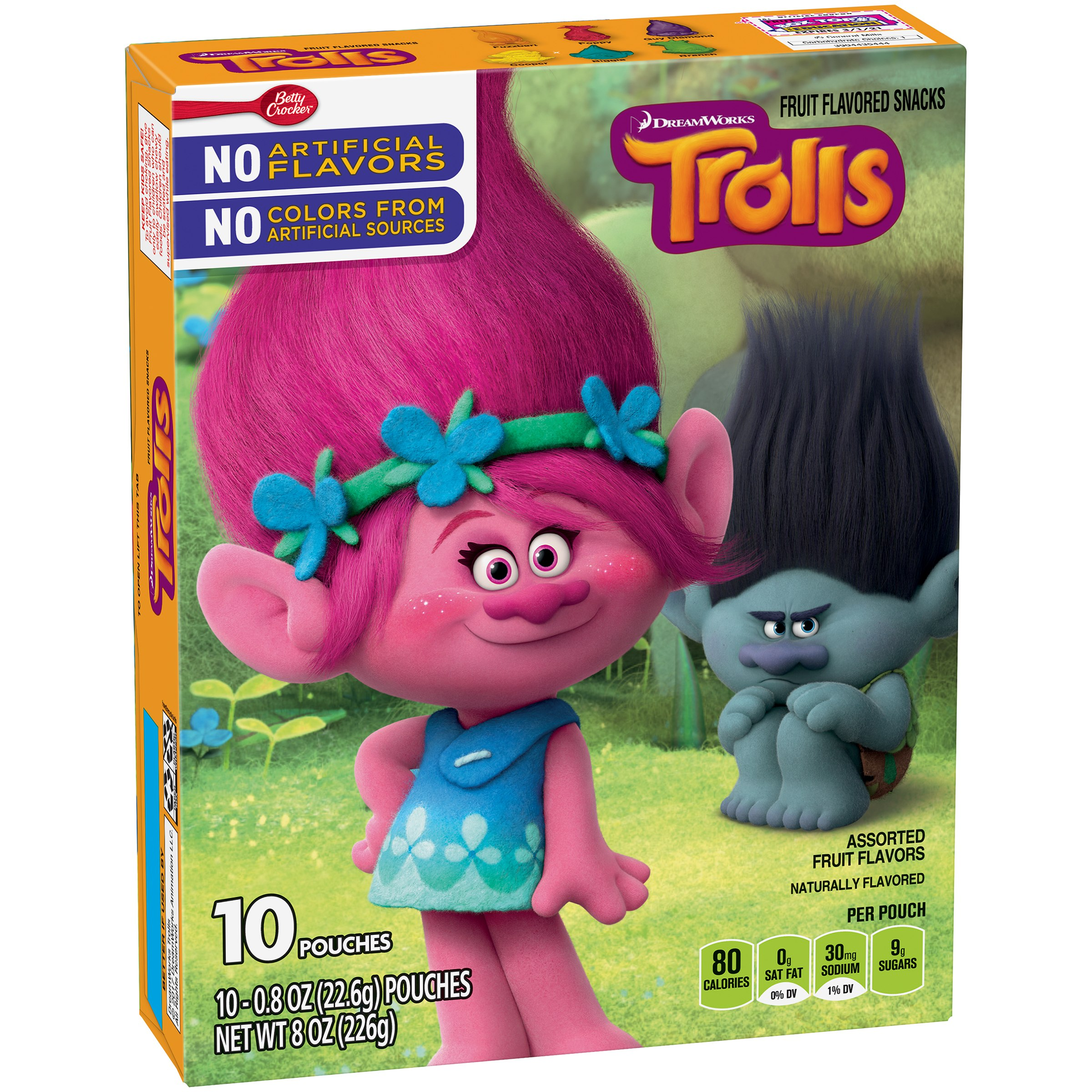 Betty Crocker Trolls Fruit Snacks, Assorted Fruit Flavors, 10 Ct