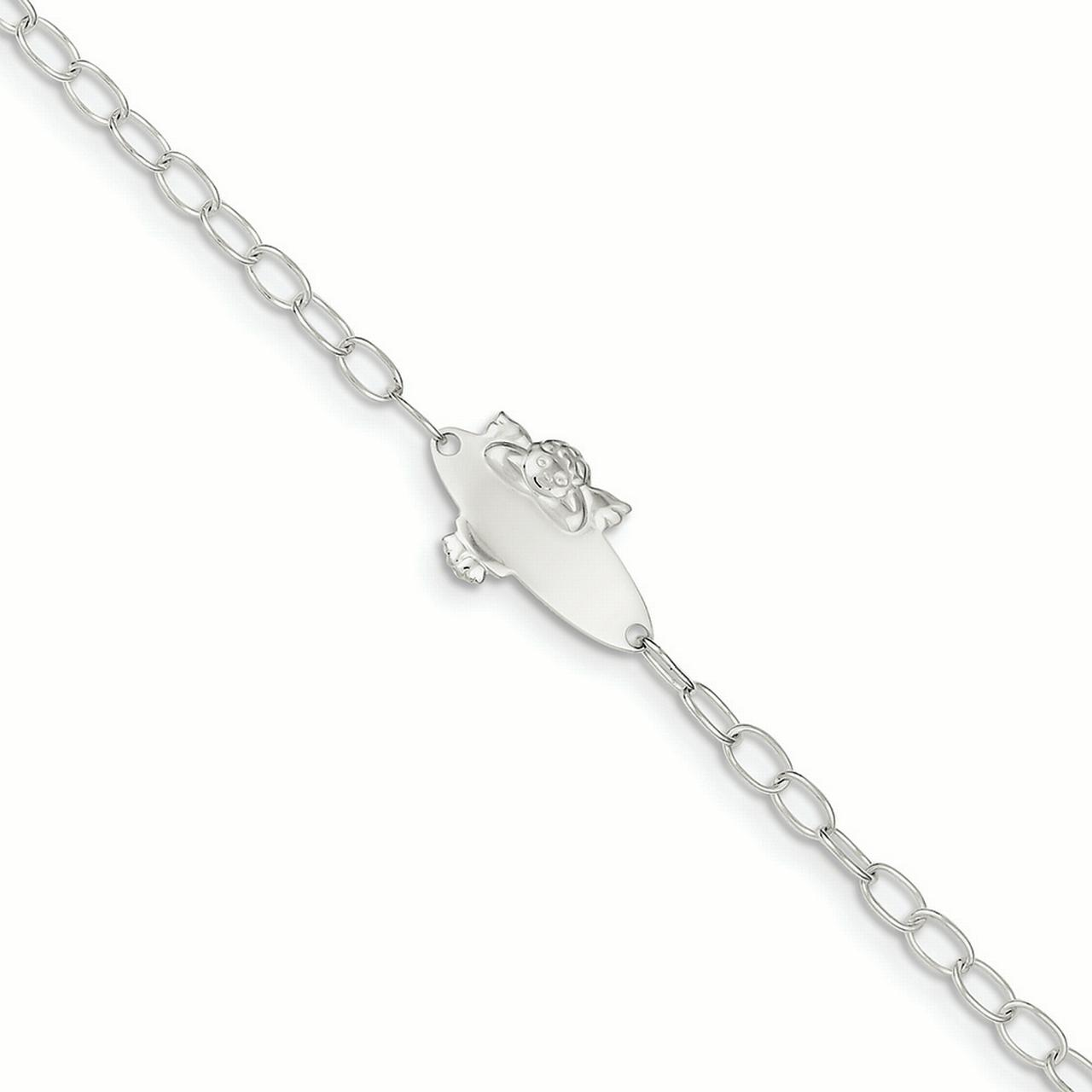 .925 Sterling Silver Children's Angel Baby Engraveable ID Bracelet 6.00 Inches