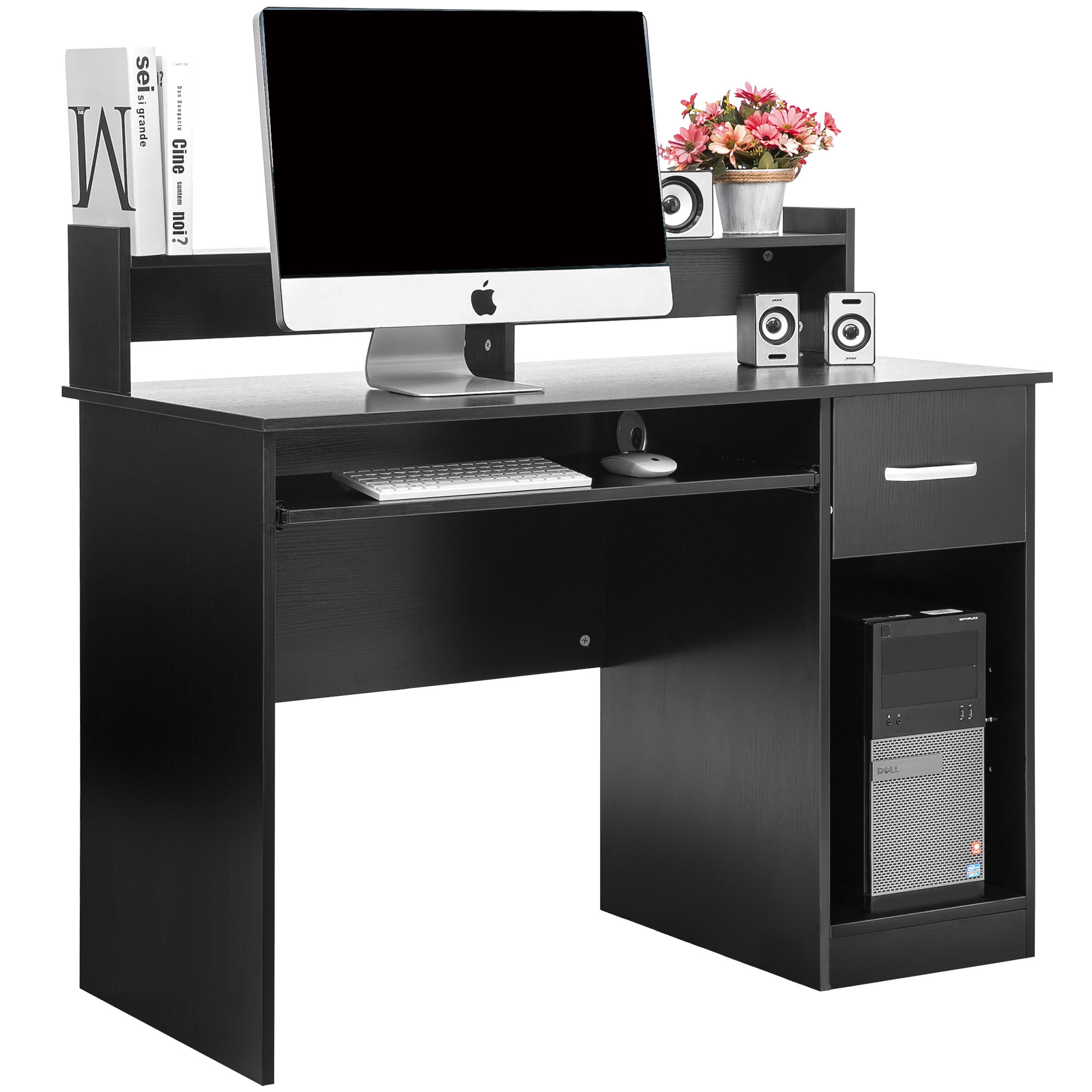 Ktaxon Wood Computer Desk Office Black Laptop PC Work Table Home