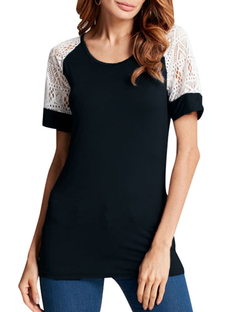 Women's O-neck Lace Sleeve Slim Fit Comfort Soft Tee Shirts