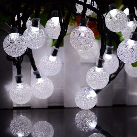 20ft 30 LED Solar String Ball Lights Outdoor Waterproof  Garden Decor Cold White ()