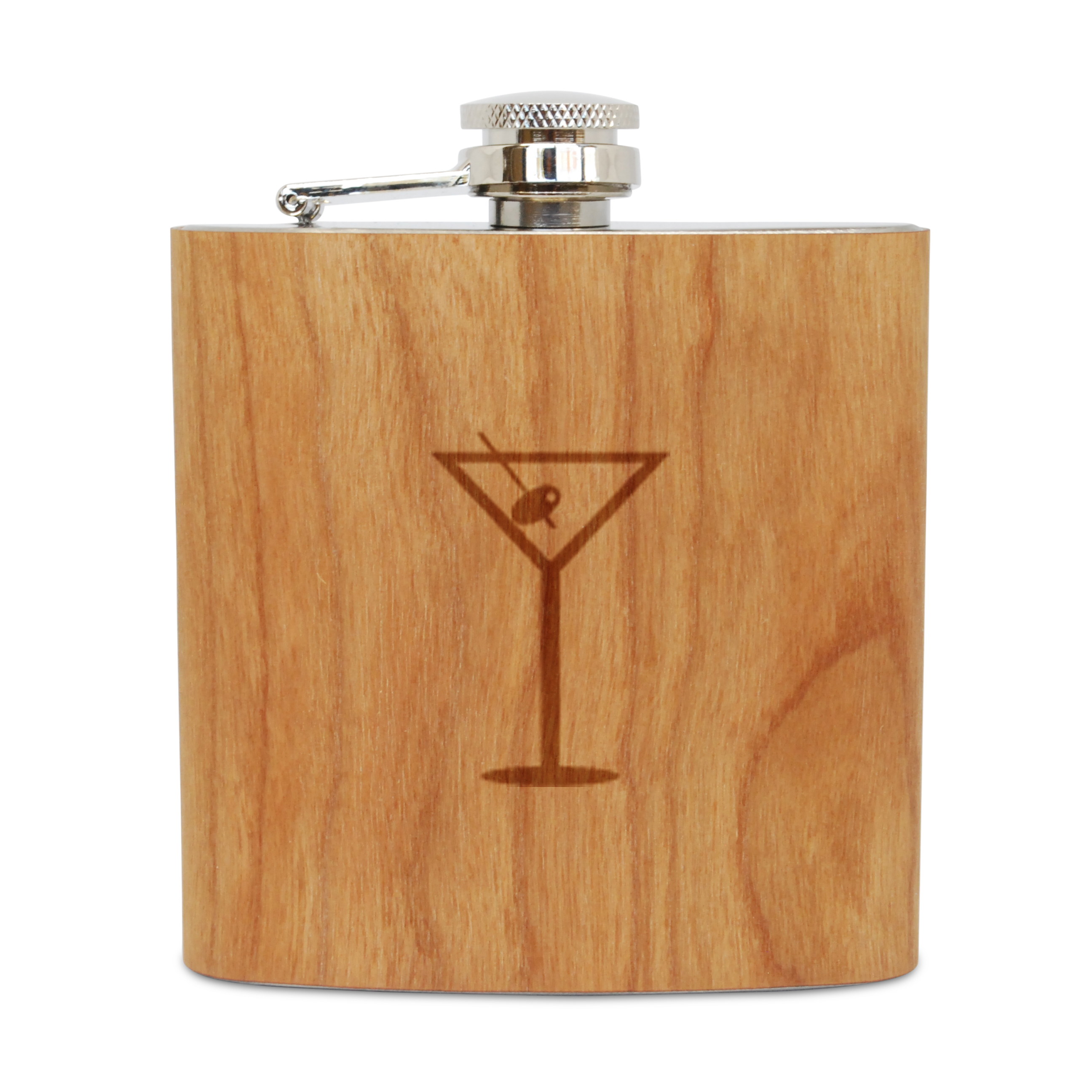 Martini Olive 6 Oz Wooden Flask (Cherry), Stainless Steel Body, Handmade In Usa by BigSpool Distributors