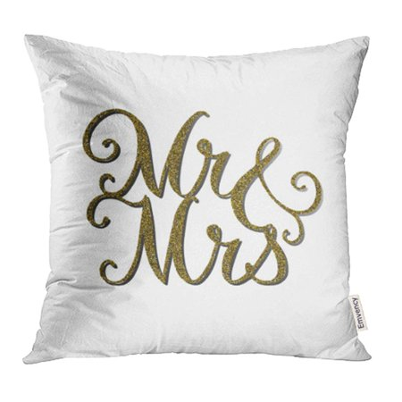 Mr & Mrs Pillows (YWOTA Words 'Mr Mrs' with Gold Glitter Effect Unique Wedding Romantic Silhouette Is Pillow Cases Cushion Cover 18x18)