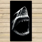 GCKG Black Shark Beach Towel Shower Towel Wrap For Home and Travel Use Size 16x28 inches