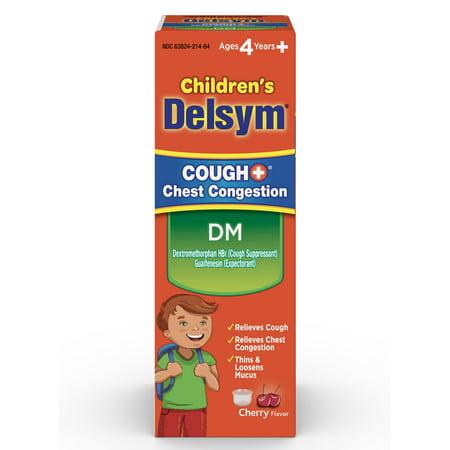 Childrens Cough - Delsym Childrens DM Cough + Chest Congestion Relief Liquid, Cherry, 4oz