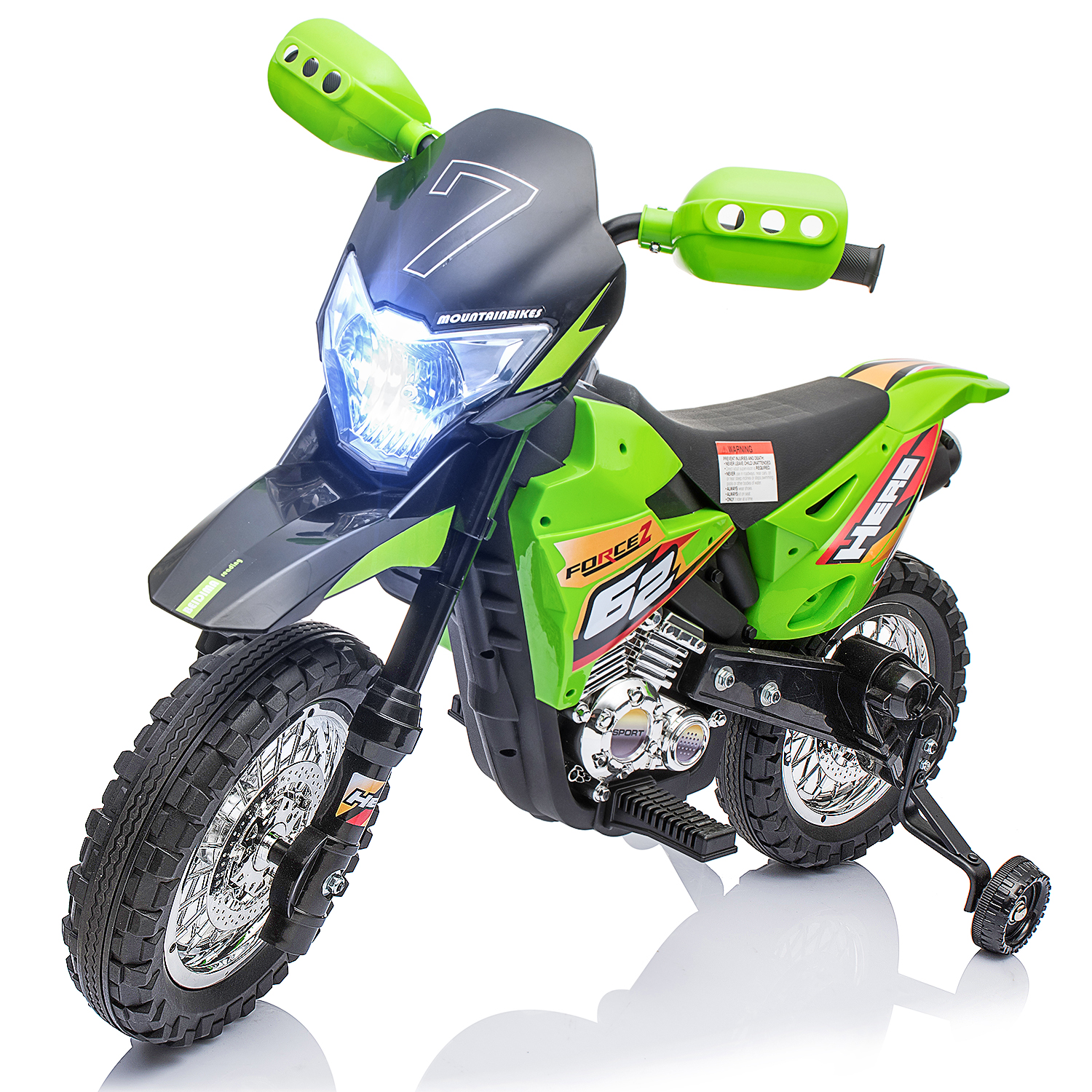 Merax 6V Kids Electric Powered Ride-On Motorcycle Dirt Bike with Training Wheels, Light, Music – Green