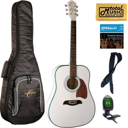 Oscar Schmidt OG2 Acoustic Guitar, Christian,Spruce Top, Gigbag Bundle, OG2WH