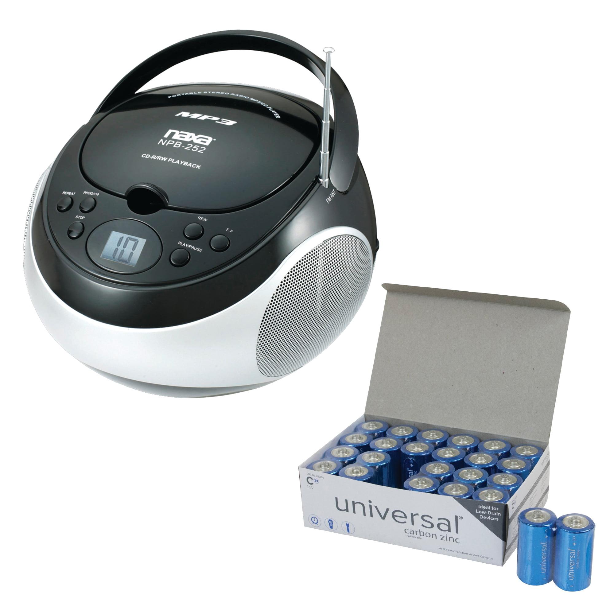 Naxa NPB252BK Portable CD/MP3 Players With AM/FM Stereo (Black) & UPG C 24 PACK
