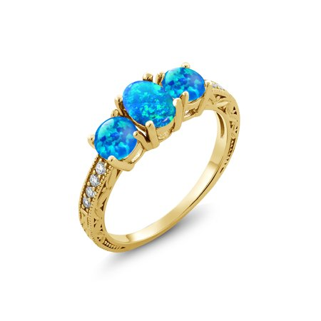1.75 Ct Oval Cabochon Blue Simulated Opal 18K Yellow Gold Plated Silver Ring
