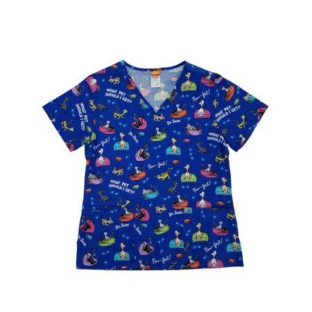 Dr. Seuss What Pet Should I Get Womens Medical Smock Nurse Scrubs Shirt - Disney Halloween Scrubs