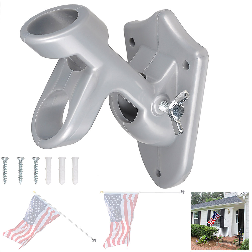 "180 Degree 1/"" Adjustable Flag Pole Holder Wall Mounted Bracket Aluminum Outdoor"