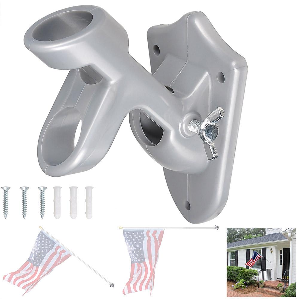 "180 Degree 1/"" Adjustable Flag Pole Holder Wall Mounted Bracket Aluminum Outdoor"
