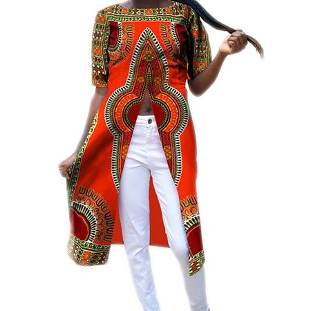 7 Colors African Printing Split Shirt Dress Women Casual Outfit - Arabian Outfits Ladies
