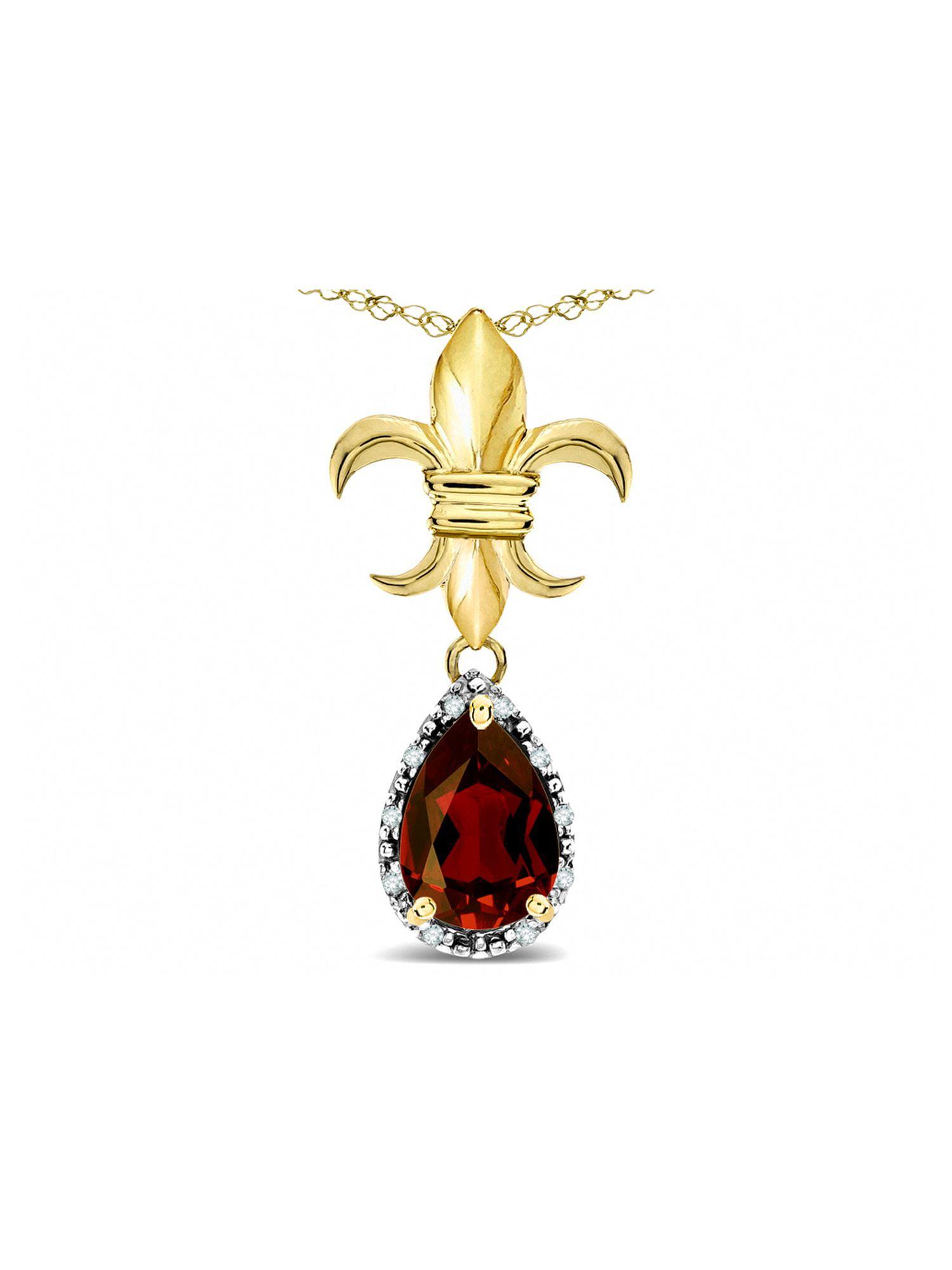 Star K Pear Shape 8x6mm Genuine Garnet Fleur De Lis Pendant Necklace 14k Yellow Gold by Star K