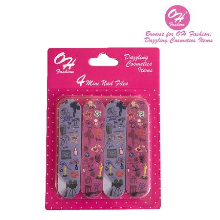 OH Fashion Mini Nail Files Around California 1 Pack of 4 Nail Filer Set Double Sided Waterproof Professional Nail Files Pack Manicure Pedicure Nail -