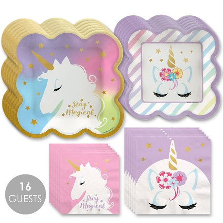 Unicorn with Gold Foil - Magical Rainbow Unicorn Baby Shower or Birthday Party Tableware Plates and Napkins - Bundle for 16](Rainbow Unicorn Birthday Party Supplies)