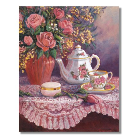 Rose Flower Bouquet with Tea Pot Setting on Table Wall Picture 8x10 Art Print ()