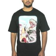 Spongebob T-rex Meets Patrick Star Graphic Design Men's Printed Black T-shirt