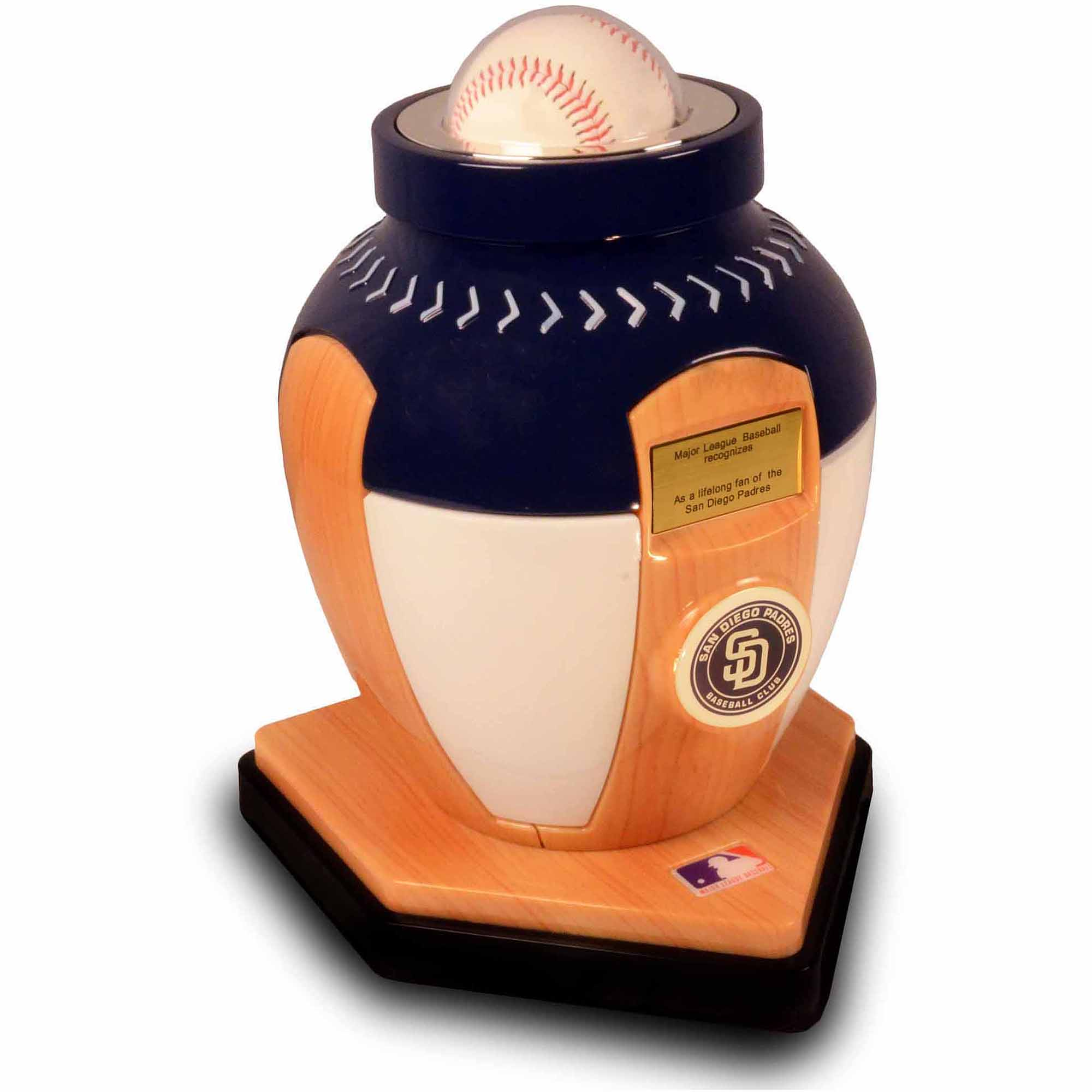 Official Major League Baseball Cremation Urn for Human Ashes - San Diego Padres