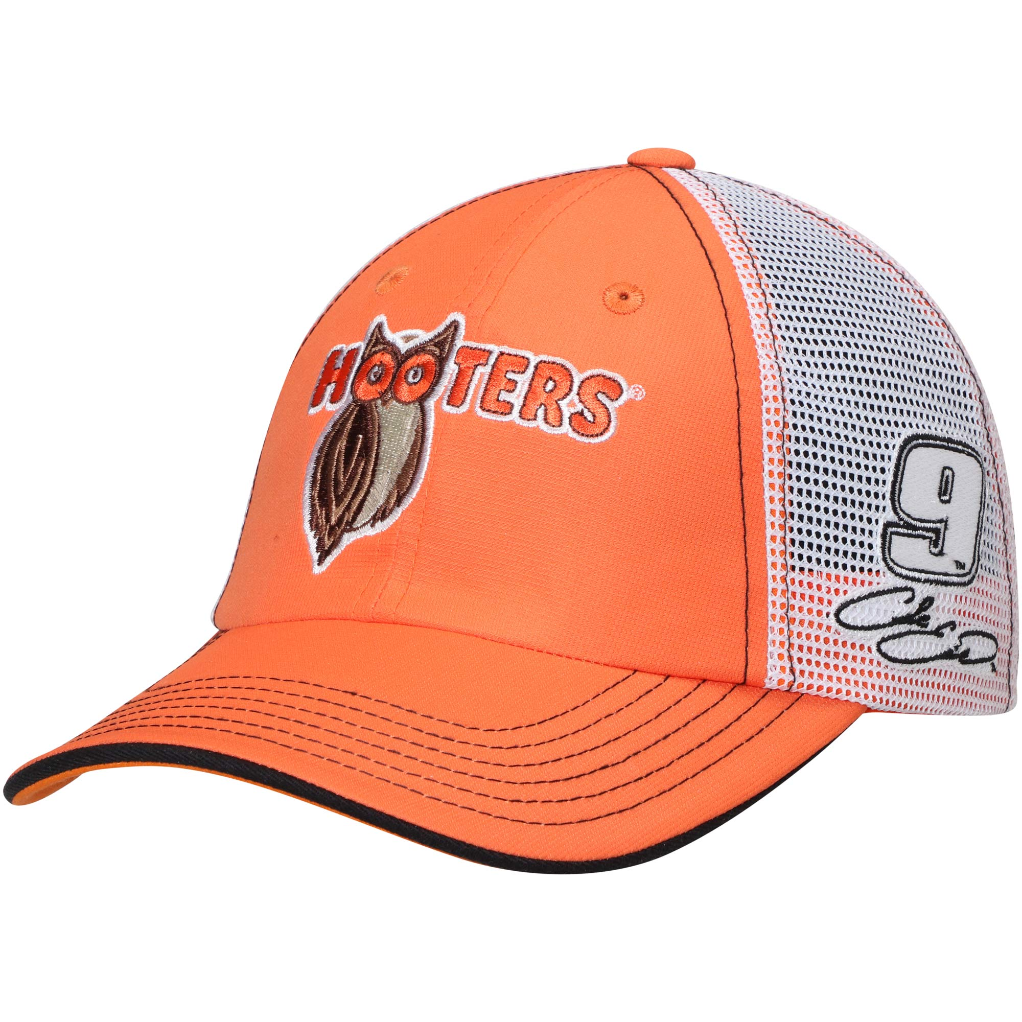 Chase Elliott Checkered Flag Hooters Driver Adjustable Hat - Orange/White - OSFA