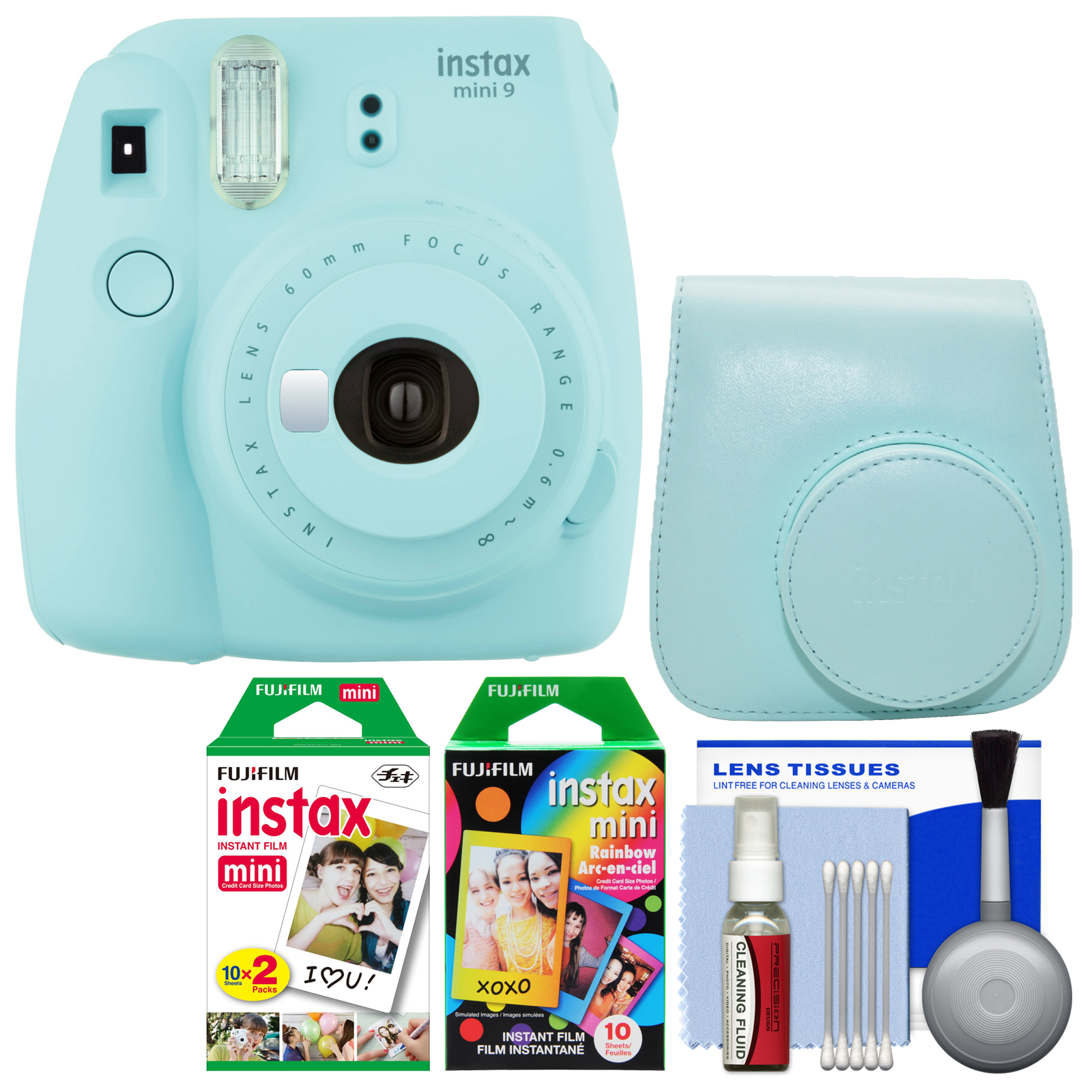 Fujifilm Instax Mini 9 Instant Film Camera (Ice Blue) with Case + 20 Twin & 10 Rainbow Prints + Cleaning Kit