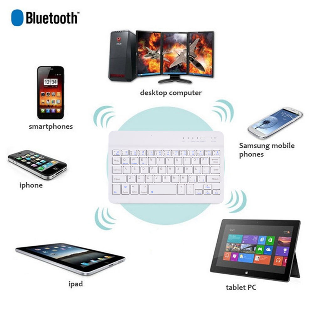 "Bluetooth Keyboard, 7"" Universal Wireless Bluetooth Keyboard Ultra Slim for Apple iOS iPad Pro, mini 4, iPhone X/8/7Plus/6, Android Tablets (Galaxy Tab), Windows Mac"