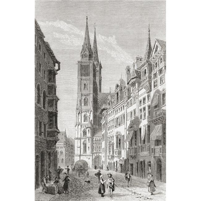 Design Pics DPI2220091 St. Lorenz Church Nuremberg Bavaria Germany in The 19th Century From Pictures From The German Fatherland Published C.1880 Poster Print, 12 x 19 - image 1 de 1