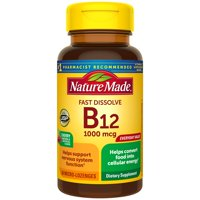 Nature Made Fast Dissolve B12 1000 mcg Micro-Lozenges, 60 Count for Cellular Energy