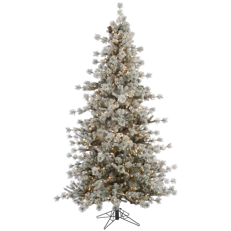 10' Slim Pre-lit Flocked Anchorage Artificial Christmas Tree - Warm White LED Lights
